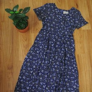 Vintage 90s Blue Floral Rayon Day Dress